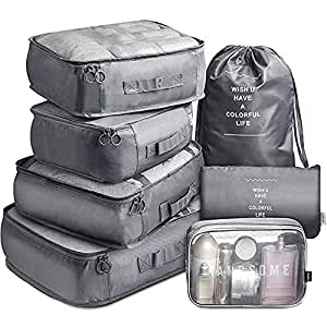 7 Pack Packing Cubes Value Set for Travel Luggage Organiser Bag Compression Pouches Clothes Suitcase Packing Organizers Set with Toiletry Bag (Grey)