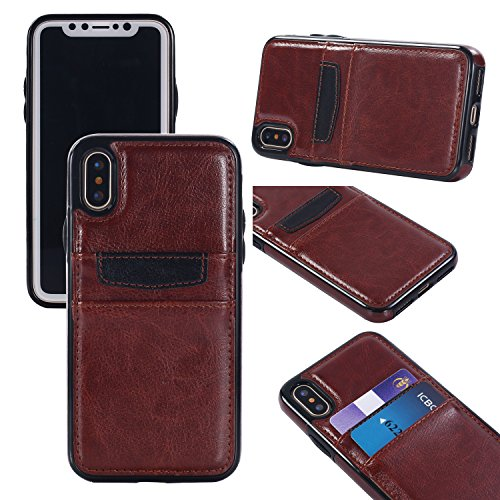 - Gostyle Wallet Case for iPhone X, Slim PU Leather Back Shell with Credit Card Holder Inner Soft Silicone TPU Bumper Shockproof Protective Cover for iPhone X 5.8 inch-Brown