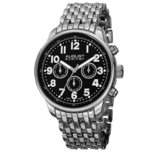 August Steiner Men's AS8147SSB Silver Multifunction Swiss Quartz Watch with Black Dial and Silver Bracelet