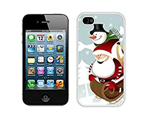 Personalized Iphone 4S Protective Skin Case Cartoon Santa Claus with Snowman White iPhone 4 4S Case 1