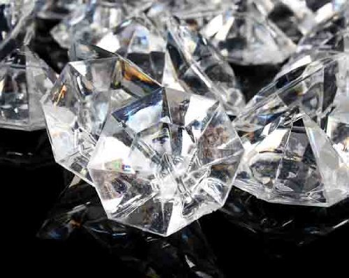2 Pounds of 25 Carat Clear Acrylic Diamonds - Big Diamonds for Table Centerpiece Decorations, Wedding Decorations, Bridal Shower Decorations -