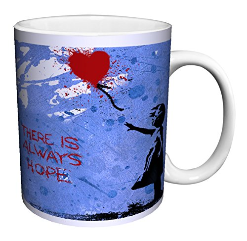 - Banksy There Is Always Hope Heart Balloon Inspirational Motivational Political Decorative Graffiti Urban Art Ceramic Gift Coffee (Tea, Cocoa) 11 Oz. Mug