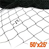 Net Netting for Bird Poultry Aviary Game Pens Economical Bird Netting-Protect Blueberry,Plants and Vegetables from Ows New 1'' Square Mesh Size (25' x 50' dense net)