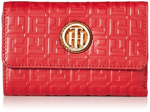 Tommy Hilfiger Debossed Medium Flat Wallet, Red, One Size