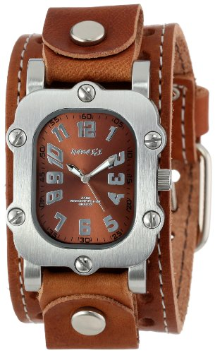 Nemesis Men's BSTH007BU Classic Burgundy Rugged Leather Cuff Band Watch