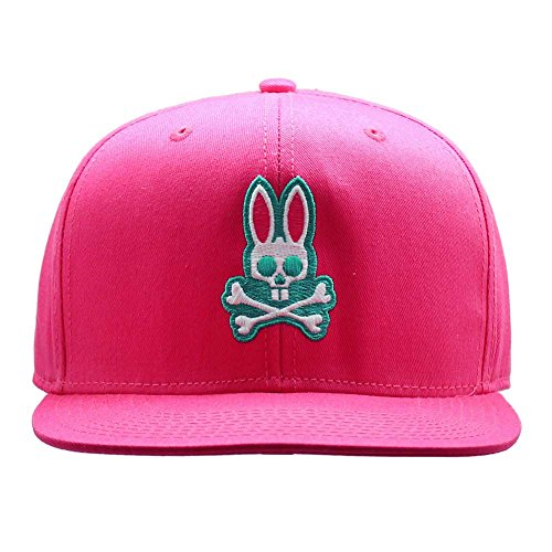 Psycho Bunny Unisex Adult Everyday Flat Brim Snapback Hat in Snapdragon Pink