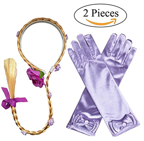 Dress Up Wig (Princess Girls Rapunzel Long Hair Wig With Braid Gloves Dress up accessories)