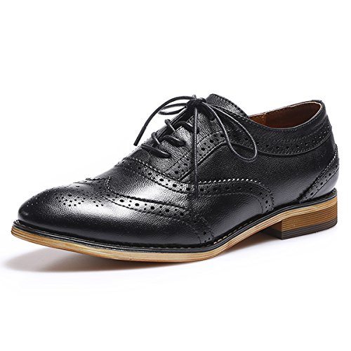 Black Multi Color Footwear - Mona Flying Women's Leather Perforated Lace-up Oxfords Shoes for Women Wingtip Multicolor Brougue Shoes (8 B(M) US, Black 2)