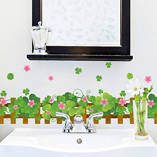 BIBITIME Garden Fence Art Green Clover Wall Sticker Pink Flower Border Luck Plants Vinyl Decal for Living Room Skirting Line Kitchen Bathroom Window Glass Door Decor Mural ()