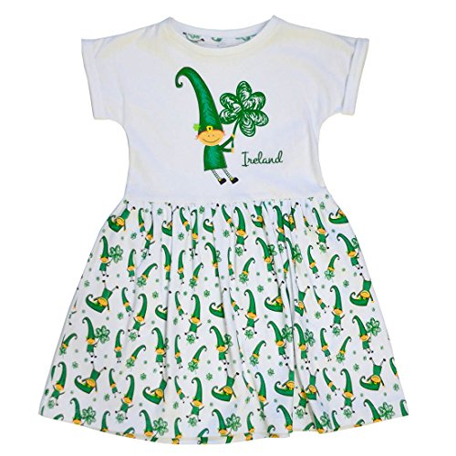 Traditional Craft White Leprechaun & Sheep Kids Dress (3-4 Years)