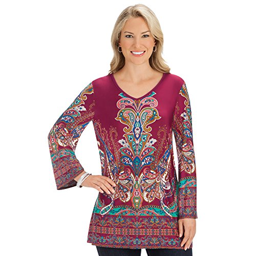 Women's Medallion Print Burgundy Knit V-Neck Top with 3/4 Bell Sleeves - Made in USA, Burgundy Multi, X-Large - Made in The (Medallion Print Tee)