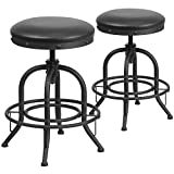 "Cheap Flash Furniture 2 Pk. 24"" Counter Height Stool with Swivel Lift Black Leather Seat"