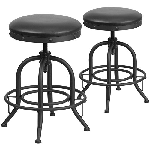Stool 24' Black Counter (Flash Furniture 2 Pk. 24'' Counter Height Stool with Swivel Lift Black Leather Seat)
