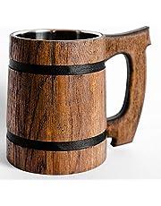 Old Style Viking Beer Mug Wooden Handmade Retro Brown Cup, Oak Beer Tankard - Wood Carving Beer Mug of Wood Eco Friendly Beer Mug for Men, Wooden Beer Tankard