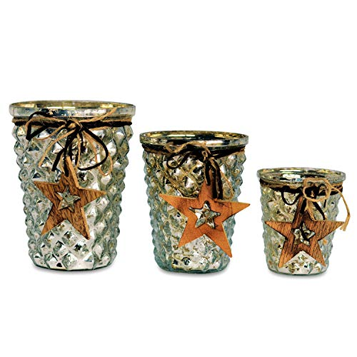 WHW Whole House Worlds Set of 3 Silver Nights Candle Holder Centerpiece Wind Lights, Star Themed, Rustic Solid Charm, Twine and Faux Leather Wrapped, Hobnail Glass, 3, 4, and 5 Inches