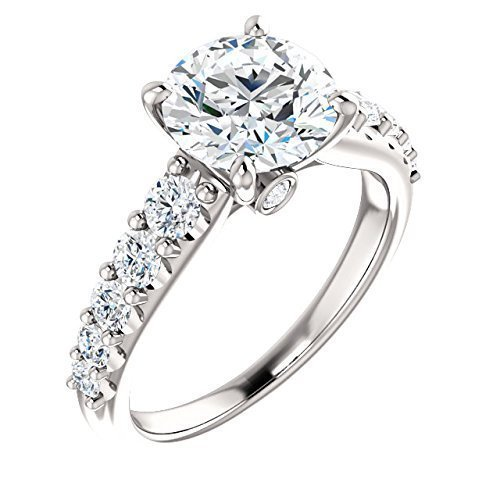Cathedral Style White Diamond Accented Certified Engagement Ring