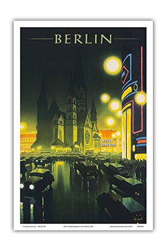 Deutschland (Germany) - Kaiser Wilhelm Memorial Church - Berlin, Germany - German National Railway - Vintage World Travel Poster by Jupp Wiertz c.1930s - Master Art Print - 12in x 18in - German Vintage Poster