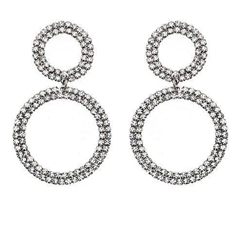 14K Gold, Rose Gold, or Rhodium Plated Double Circle Link Dangle Earrings with White Crystals
