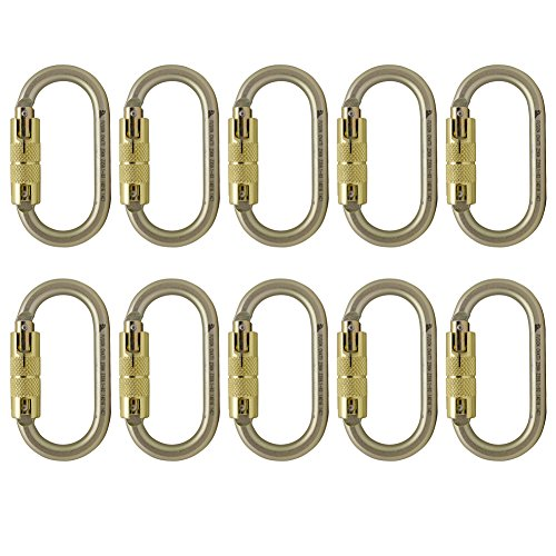Fusion Climb Ovatti Steel Triple-Lock Oval-Shaped Carabiner 10-Pack by Fusion Climb