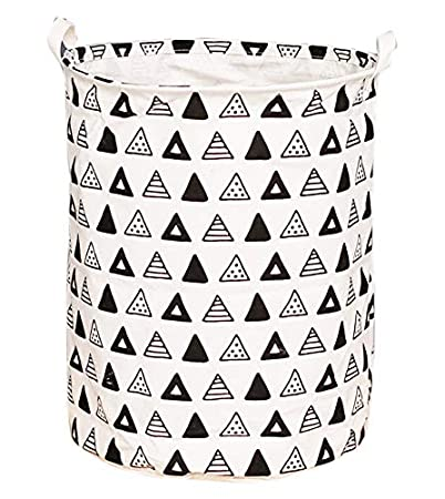 Large Toy Bins, Nursery Storage, Gift Baskets, Cotton & Linen Collapsible Fabric Laundry Hampers with Handles for Baby Room, Dog Toys, Bathroom(Tree&Owl) HUNRUNG