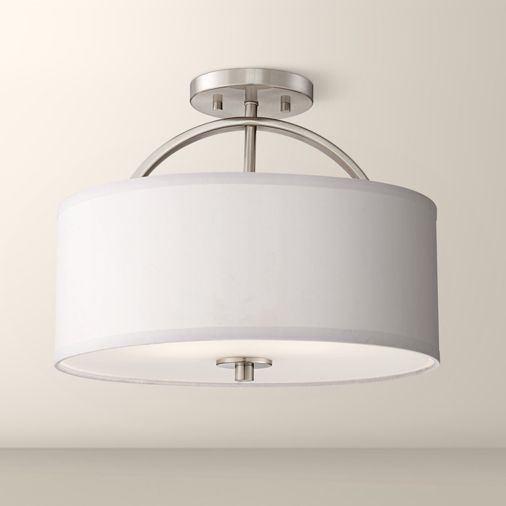 Amazon.com: Possini Euro Halsted 15u0026quot; Wide Brushed Nickel Ceiling Light:  Home Improvement