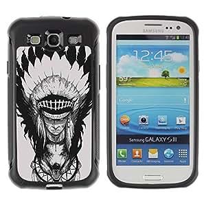 """Hypernova Defender Series TPU protection Cas Case Coque pour Samsung Galaxy S3 III I9300 [Pluma Jefe Decoración del tótem del lobo""""]"""