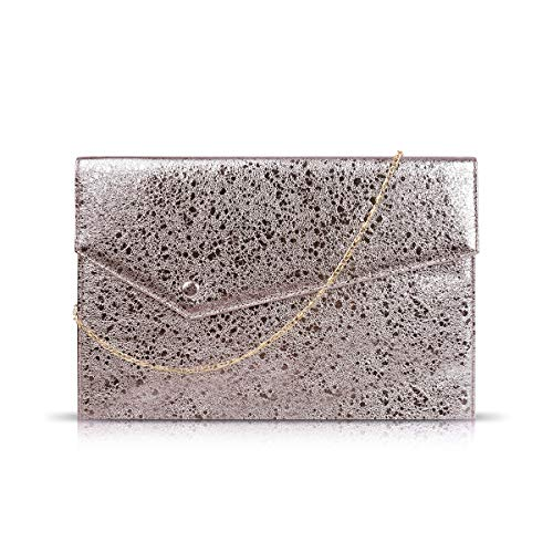Gessy Shoulder Purse for Women Small Envelope Wallets PU Clutch Handbags Prom Party Choice Removable Chain Strap Wedding Evening Magnetic Snap Bag Pure Unique Ladies Thin Totes(Light Brown)