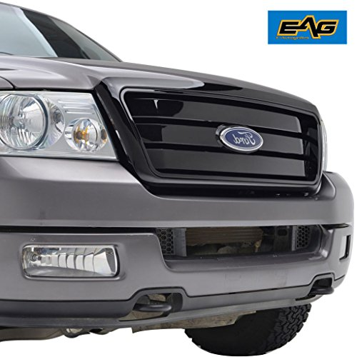 EAG F-150 Replacement Black Grille Mesh Upper Front Grill for 04-08 Ford F150 With Emblem Clip