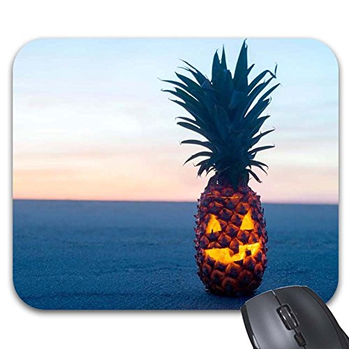 Automaket Mousepad Pineapple Carvings Cute Happy Halloween Mouse -