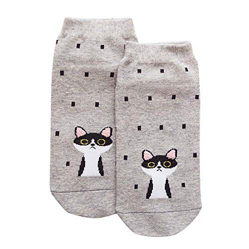Womens Casual Socks - Cute Crazy Lovely Animal Cats Dogs Owls Art Pattern Good for Gift 1 Pair Women Cotton Socks Gray (Art Pair)