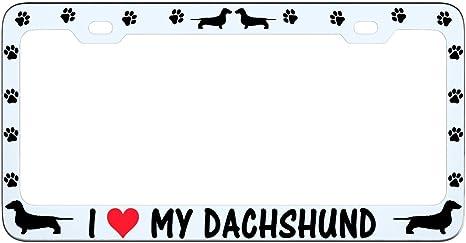 I Love My Poodle Black License Plate Frame Tag Holder