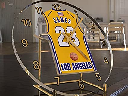 MyShirt123 Lebron James 23 - Los Ángeles Lakers NBA Basketball Jersey Desktop Clock - Letras de