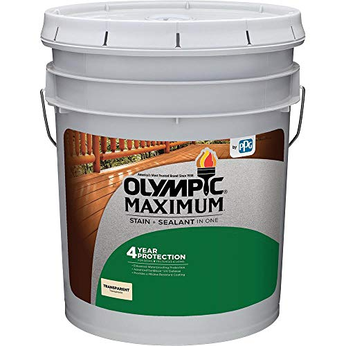 Olympic Stain 56505-5 Maximum Wood Stain and Sealer, 5 Gallon, Transparent Stain, Canyon Brown