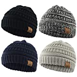 Durio Beanie Winter Baby Beanies Knitted Beanie Hat Thick Warm Baby Boy Hats Baby Gifts Fall Toddler Beanie 4 Pack Black & Light Grey & Navy & Black White Review