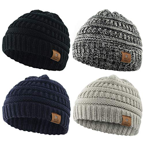 Durio Beanie Winter Baby Beanies Knitted Beanie Hat Thick Warm Baby Boy Hats Baby Gifts Fall Toddler Beanie 4 Pack Black & Light Grey & Navy & Black White