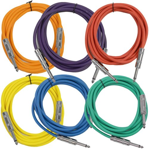 Seismic Audio SASTSX-10BGORYP 10-Feet TS 1/4-Inch Guitar, Instrument, or Patch Cable, Colored