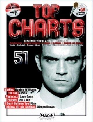 Top Charts 51 mit Playback CD: Klavier, Keyboard, Gesang, Gitarre, Trompete, Flöte, Tenorsax, Altsax, B-Klarinette
