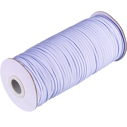 Chengu White Knit Elastic Spool Cord Elastic Band Elastic Rope for Waistbands, Necklines and Crafts, 144 Yard Length by 1/8 inch Width (144 Roll Yard)