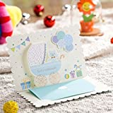 Blue 3D Cartoon Cute Bear Invitations Baby Shower Birthday Party Decorations Kids Children's Day Supplies CW5302 (100)