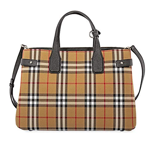 Burberry Medium Banner Vintage Check Canvas & Leather Tote, Black