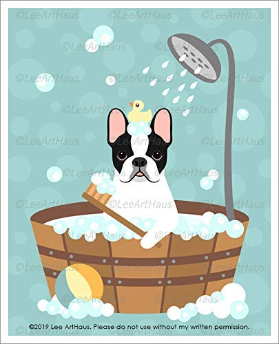 770D - Pied French Bulldog in Bubble Bath Bathtub UNFRAMED Wall Art Print by Lee ArtHaus