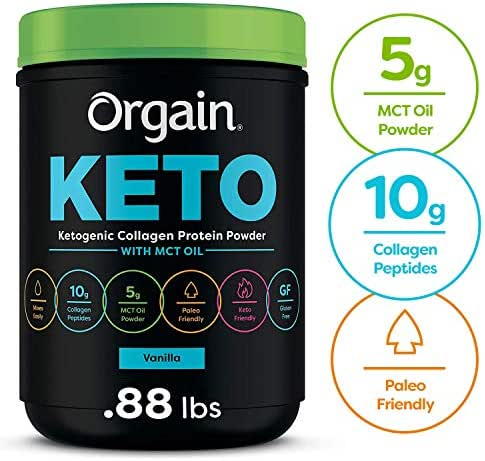 Orgain Keto Collagen Protein Powder with MCT Oil, Vanilla - Paleo Friendly, Grass Fed Hydrolyzed Collagen Peptides Type I and III