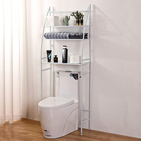 Amazon Com Fit Right 3 Shelf Bathroom Organizer Over The Toilet Storage Bathroom Shelf Over Toilet 27 L X 10 W X 66 H White Kitchen Dining