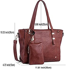 WISHESGEM Women Fashion Handbags Top-Handle Shoulder Bags PU Leather Tote Bags Crossbody Purse Red Brown