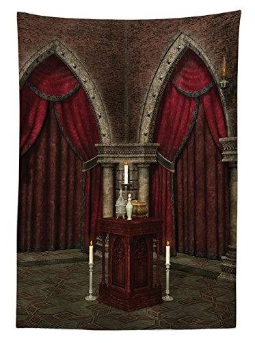 Gothic House Decor Tablecloth by Ambesonne, Mysterious Dark Room in Castle Ancient Pillars Candles Spiritual Atmosphere Pattern, Rectangular Table Cover for Dining Room Kitchen, 60x84 Inch, Ruby Umber