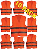 ULTRA Reflective Safety Vest With Reflective Stripes 100% Polyester Universal Fit Unisex Perfect For Running, Jogging, Walking, Construction, Cycling And More WHOLESALE BULK LOT (10 Pack, Orange)