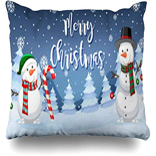 Throw Pillow Covers Cane Candy Merry Christmas Snowman Clip Holidays Celebrate Celebration Design Home Decor Pillow Pillowcase Square Size 18 x 18 Inch Case