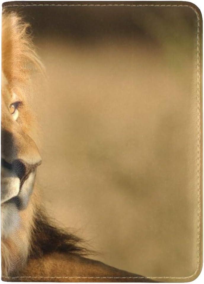 JiaoL Lion Mane Big Cat Look King Of Beasts Predator Leather Passport Holder Cover Case Travel One Pocket