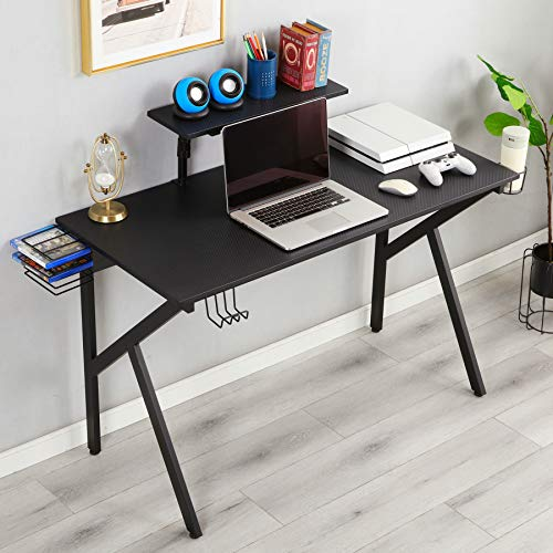 Norcia Gaming Computer Desk, 47.3 W X 21.7 D Home Office Computer Table, Professional Gamer Workstation with Cup Holder, Headphone Hook and Game Disc Storage