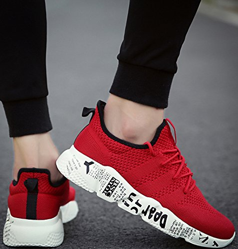 Weweya Mens Running Shoes Athletic Sports Shoes Mesh Fabric Casual Shoes Lightweight Red ScNGg